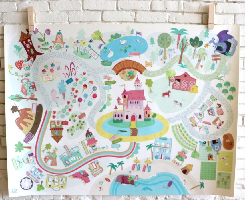 *  Camp Castle Play Mats   can keep your kiddo's imagination busy while you're right next to him/her on your yoga mat