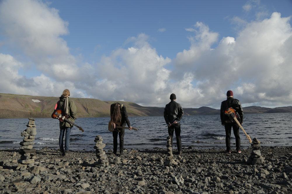 Icelandic metal band Muck overlooking Valhalla.