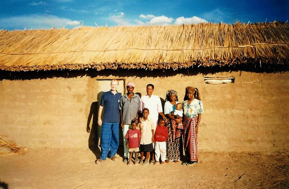 2008 - Me (left) in a village in Tanzania