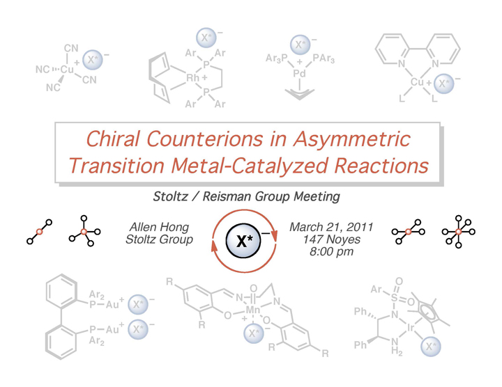 "2011: ""Chiral Counterions in Asymmetric Transition Metal-Catalyzed Reactions"""