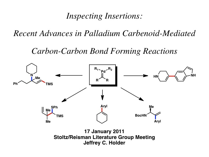 "2011: ""Inspecting Insertions: Advances in Palladium Carbenoid-Mediated Carbon-Carbon Bond Forming Reactions"""