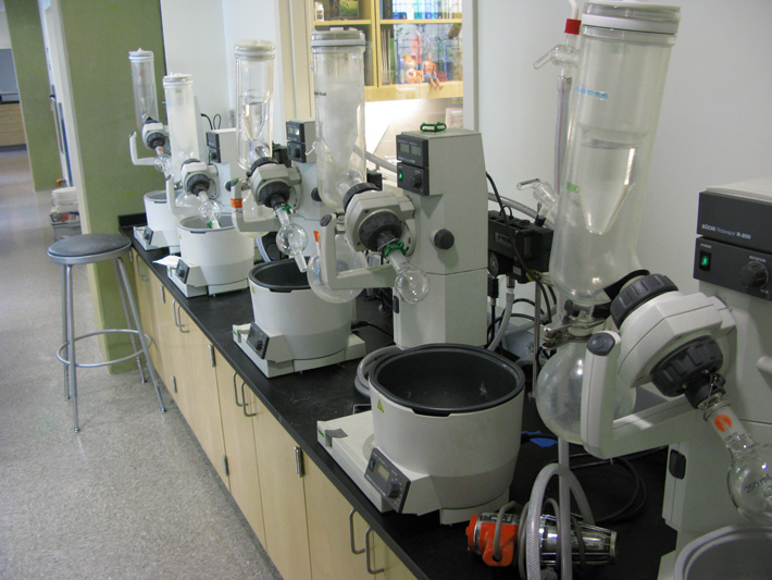 Each group member is assigned a rotovap, which is regularly used for evaporating solvents.