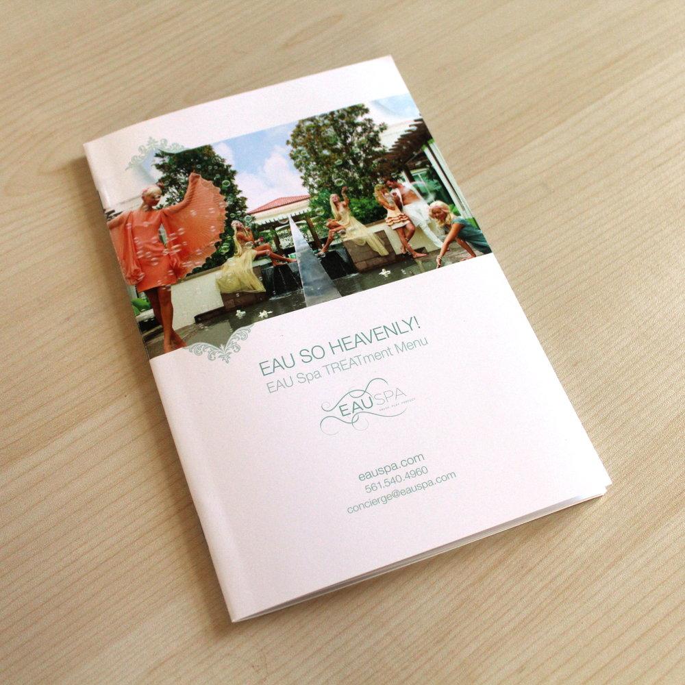 Eau Spa  Treatment Menu, Design & Printing, Photographed in House