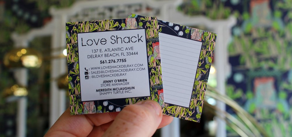 Love Shack  Business Card Design & Printing (photographed in-house)
