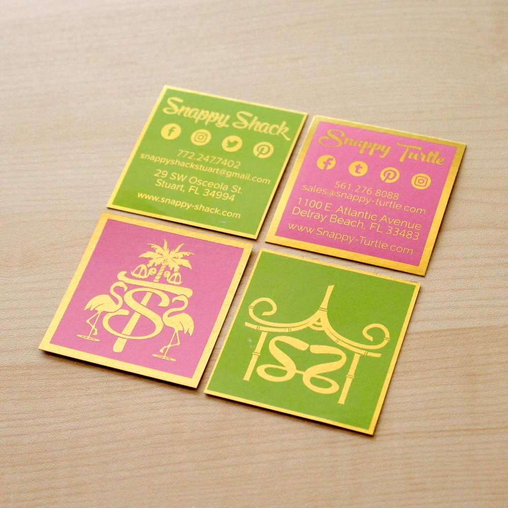 Snappy Turtle  &  Snappy Shack  Business Card Design & Printing (photographed in-house)