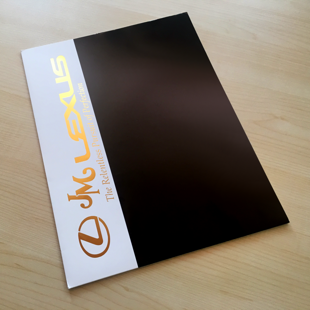 JM Lexus  Presentation Folder Design & Production (photographed in-house)