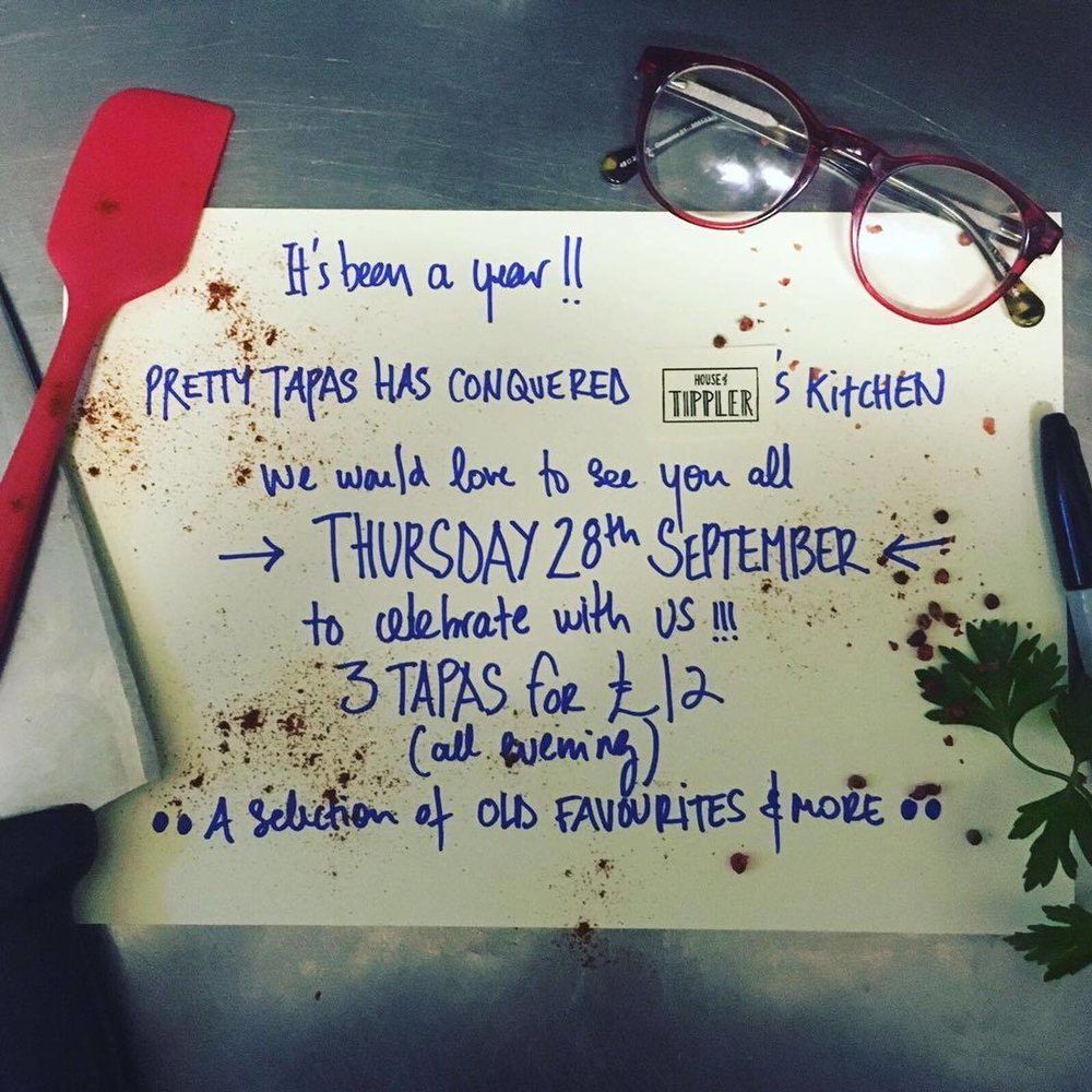 Pretty Tapas have been our resident kitchen for a whole year! To celebrate come down on Thursday 28th to celebrate.   The Menu will be a selection of Chef Mayas and customers favourite dishes she's served up over the past year.  FREE ENTRY - NO BOOKINGS REQUIRED  See you there!