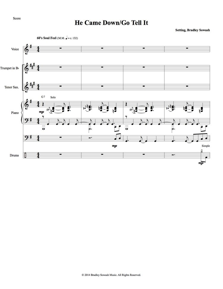 He Came Down/Go Tell It (w/quintet) - PDF — Bradley Sowash