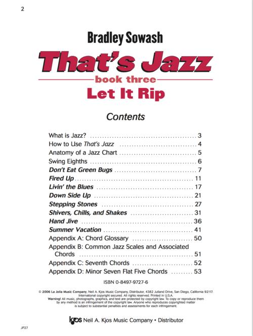 Thats Jazz Method 3 Let It Rip Hard Copy Bradley Sowash