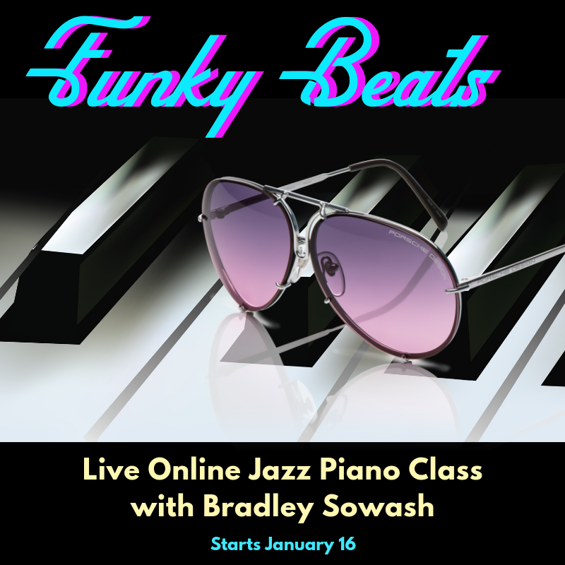 Funky Beats - Learn to combine layered sixteenth note riffs and bass lines with richly colored extended jazz chords on classic funk tunes in live online group jazz piano classes.