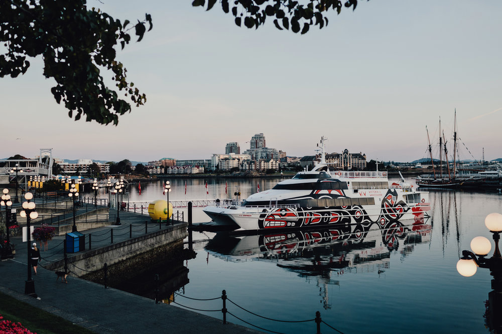Victoria to Vancouver (V2V) Ship waiting in Victoria's Inner Harbour at Sunrise