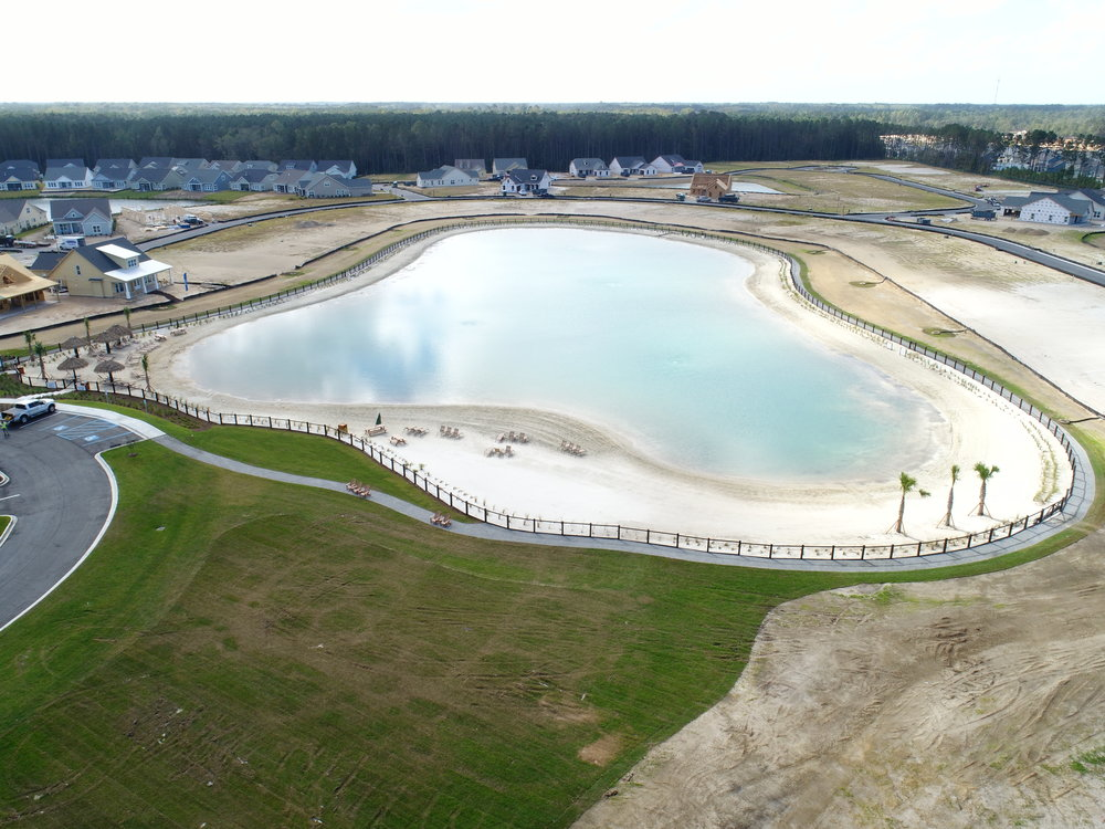 Hampton Lake Project nearing completion- with water systems and beaches installed and clubhouse under construction