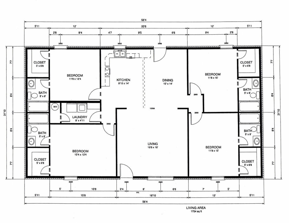 4 bedroom rectangular house plans for Rectangular bathroom layout
