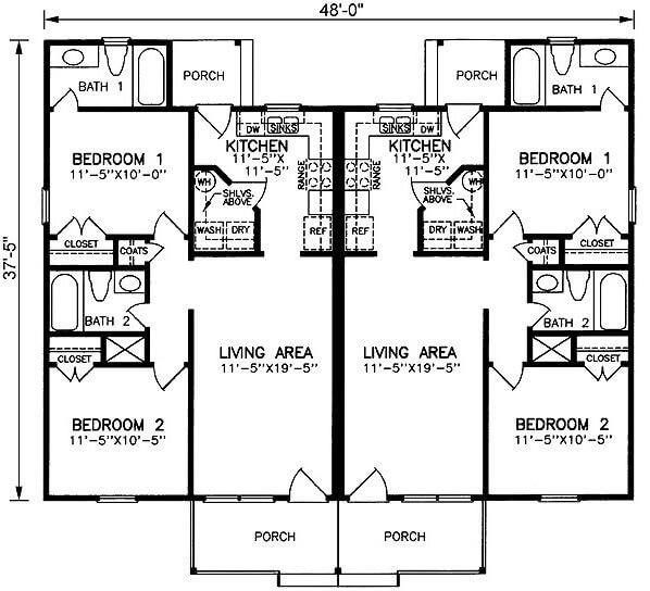 2 bedroom duplex plans for Duplex 2