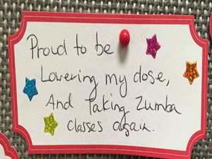 Proud to be lowering my dose, and taking Zumba classes again