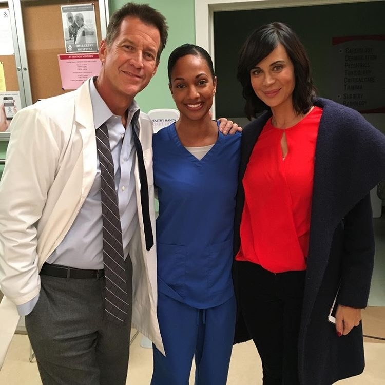 (Left to Right) James Denton, JaNae Armogan and Catherine Bell on 'The Good With'**