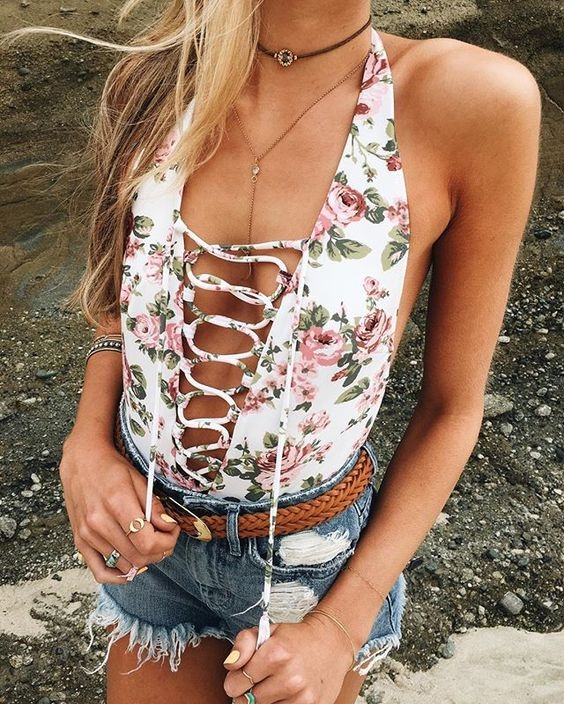 Lace up one piece swimsuit | Image Credit  Pinterest