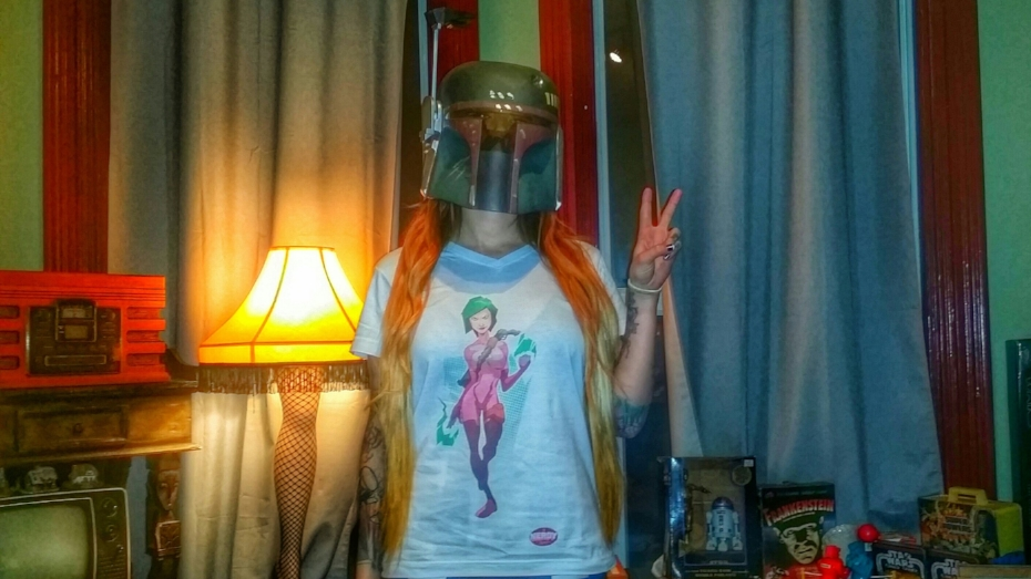 TNS in a TNS Shirt and Boba Fett's Helmet