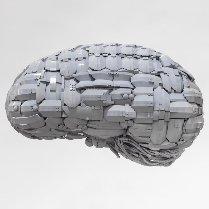 "Grey Matter (23"" x 14"" x 24"", 8000+ LEGO® pcs.) | Photo by  Toni Hafkenschied"