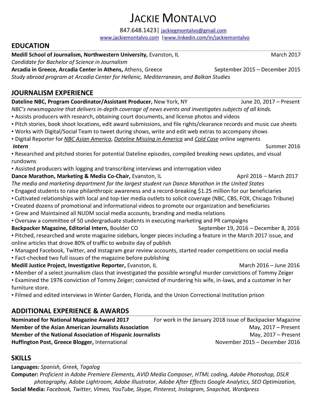 Resume — Jackie Montalvo