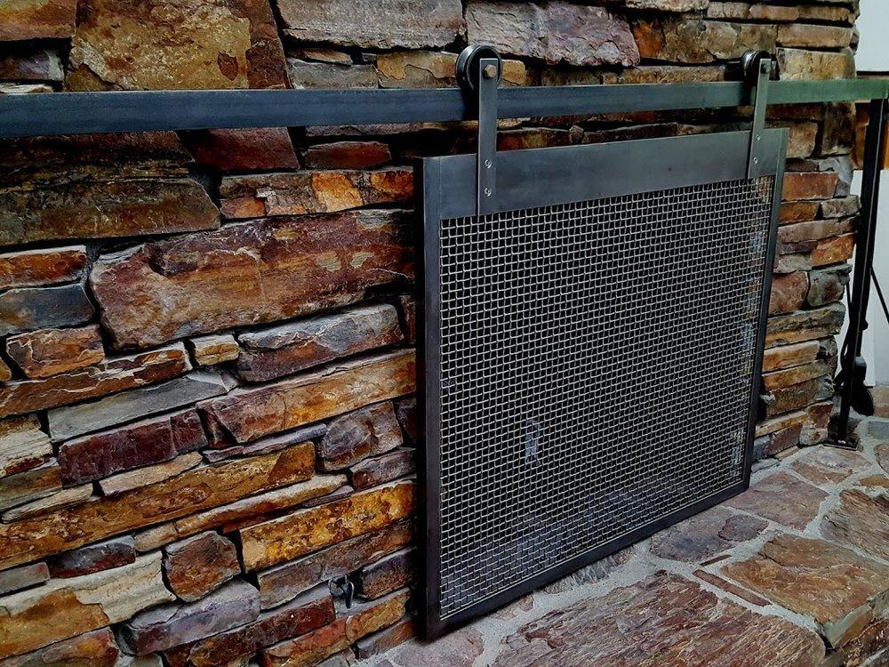 Barn Track Fireplace Screen