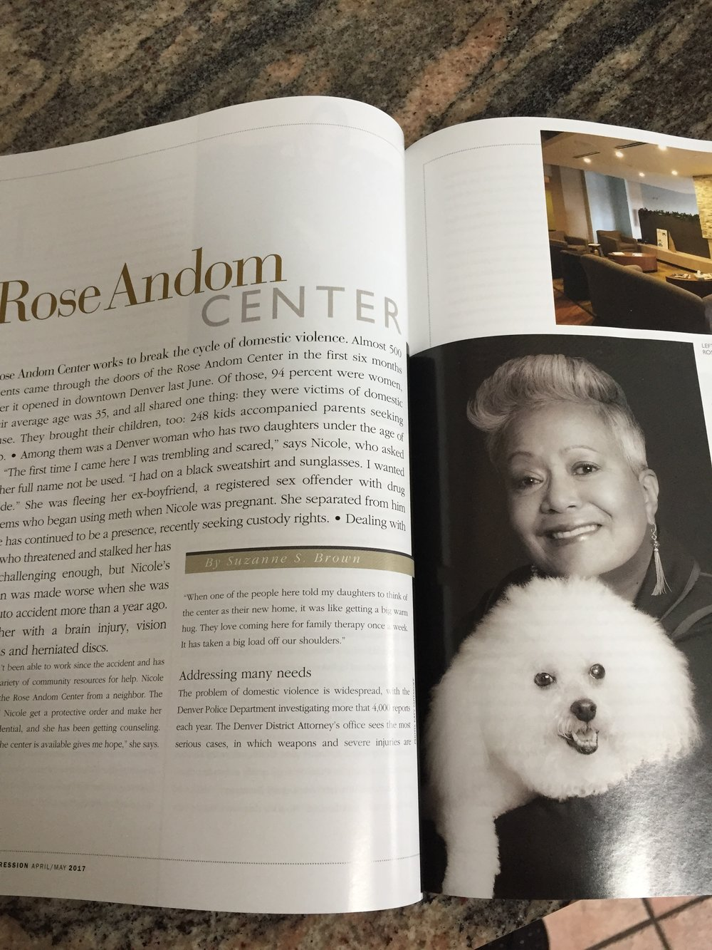 Story on Rose Andom Center for  Colorado Expression  magazine  March/April 2017