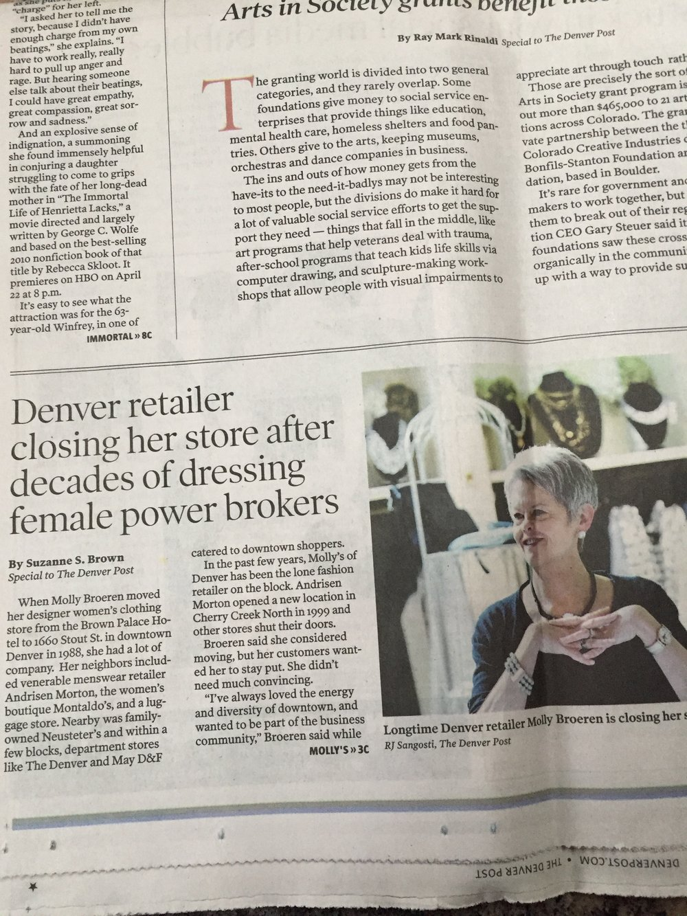Molly's will be missed;  Denver Post story on retailer closing after 35 years in business in Denver .