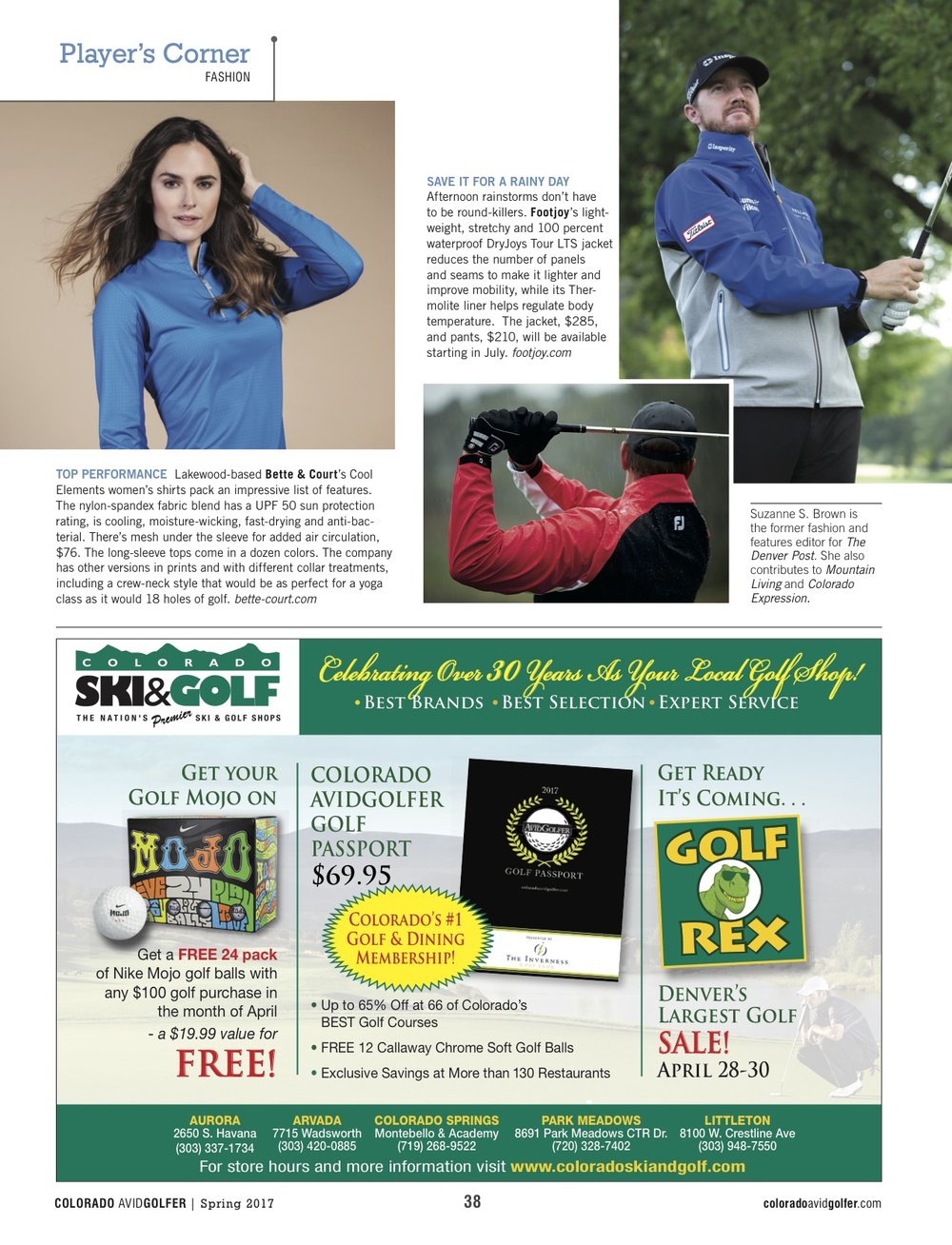 Second page of the April layout for Colorado Avid Golfer
