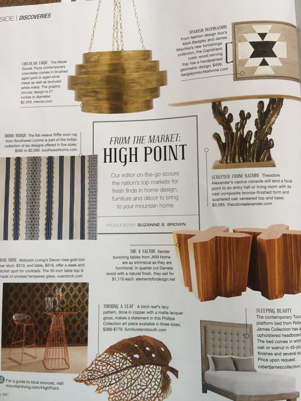July Discoveries from High Point market for Mountain Living magazine