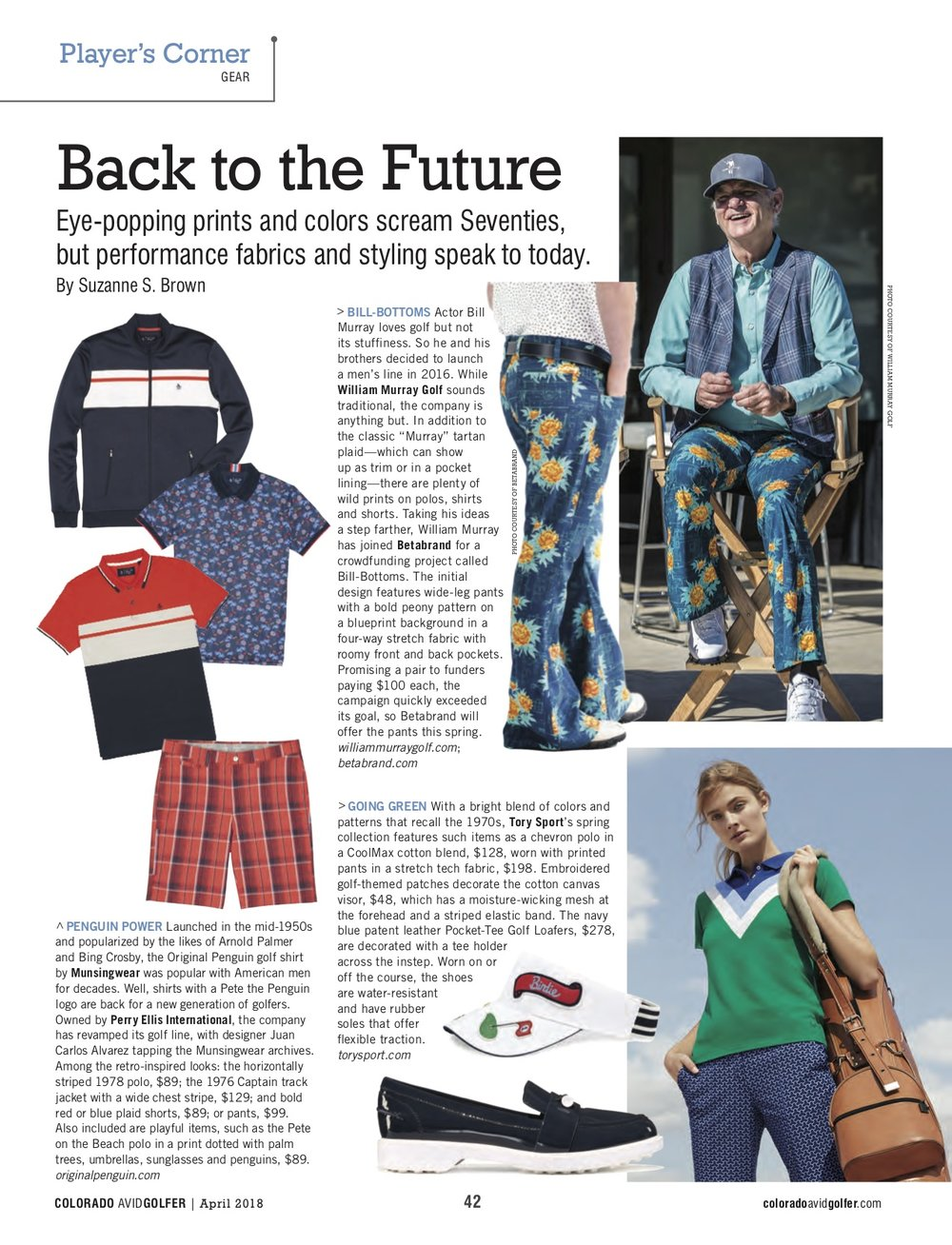 """Bill-Bottoms,"" anyone? Had fun writing about Bill Murray's collaboration with Betabrand; Original Penguin revival and Tory Sport's retro influences for  Colorado Avid Golfer's April issue."