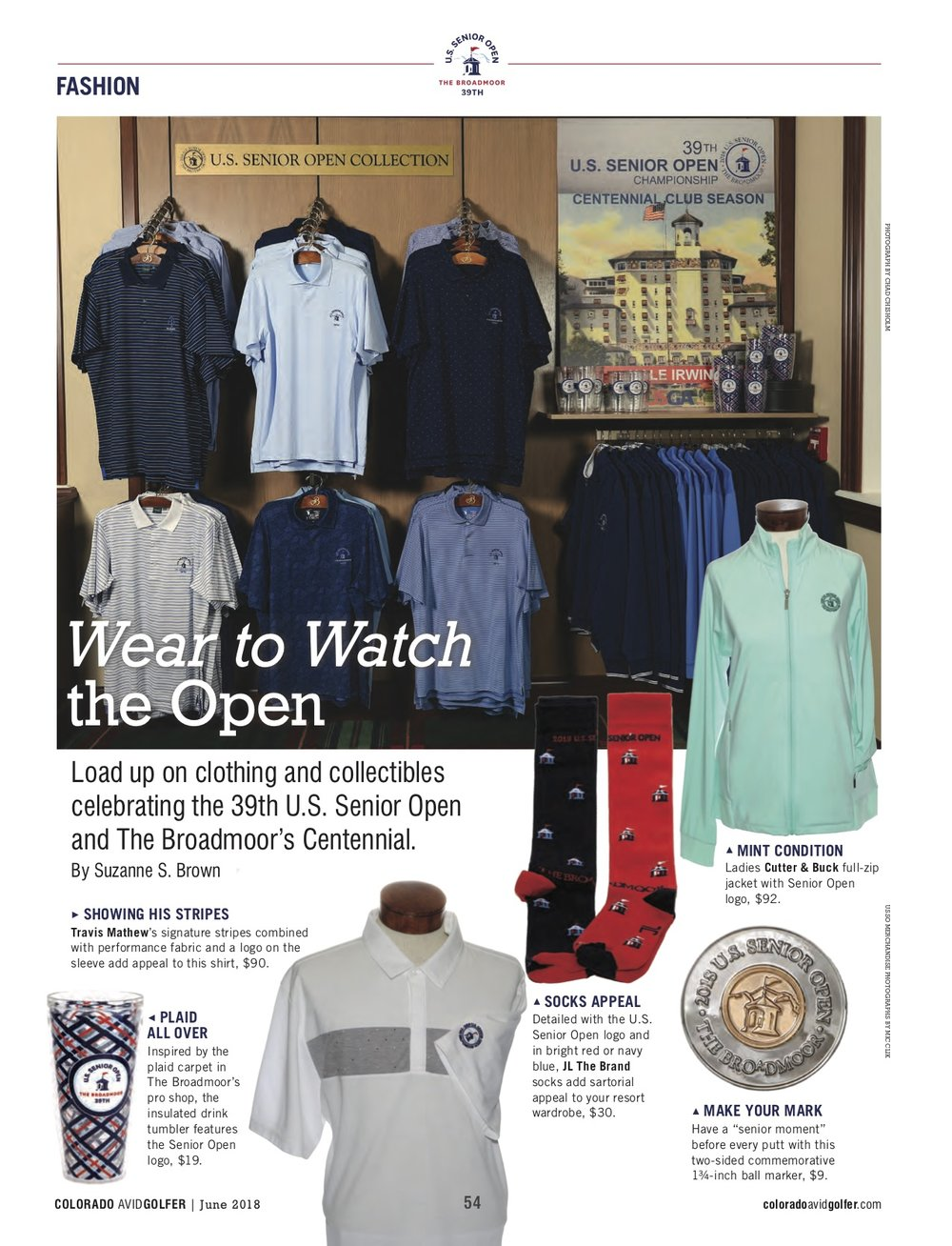Apparel and merchandise for the U.S.Senior Open at the Broadmoor, For Colorado Avid Golfer