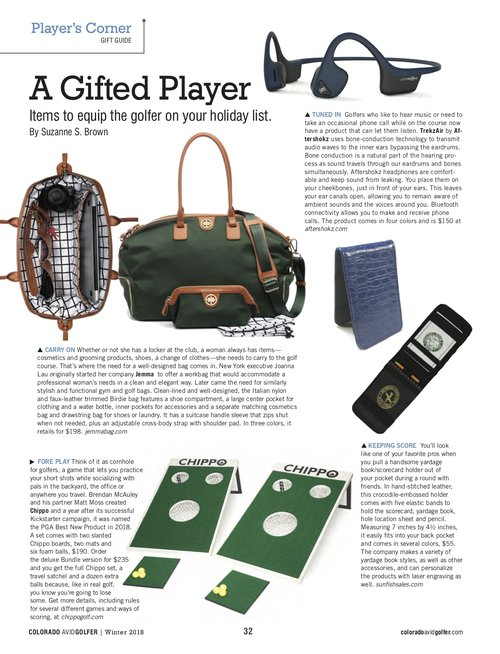 We came up with some fun gift ideas for golfers in latest issue of Colorado  Avid a8cf807237112