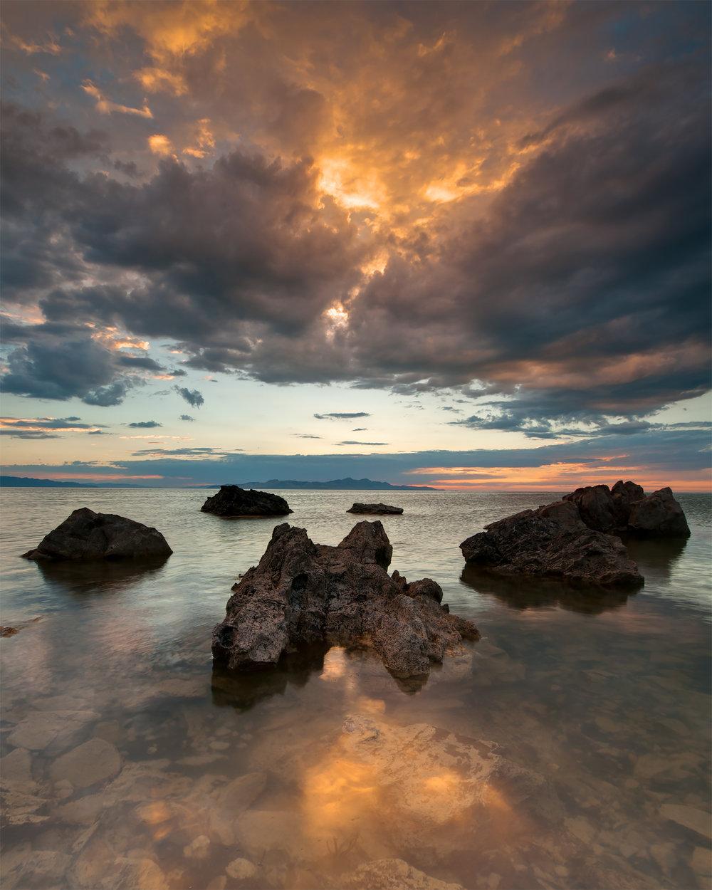 Golden Skies Over the Great Salt Lake