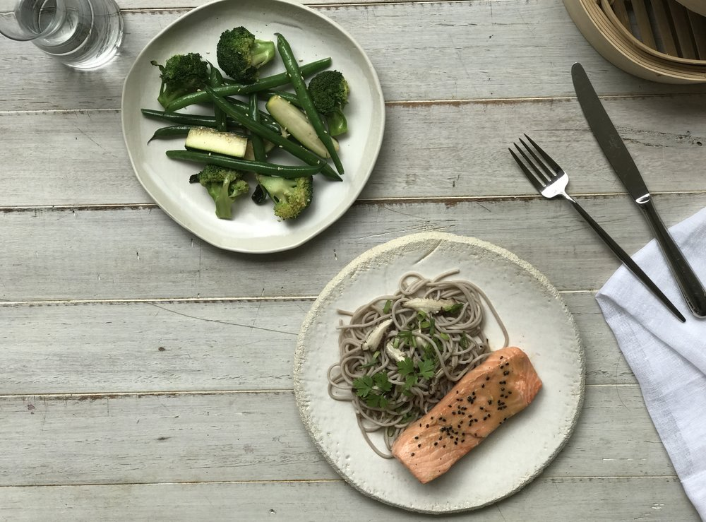 Steamed miso-marinated salmon, freshly rolled organic buckwheat (soba) noodles, wok-tossed greens