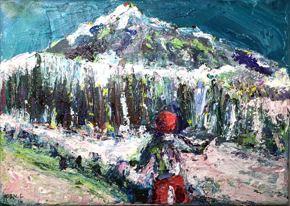Artwork Title:  Arctic circle exploration in Alaska  Artist:  FAN LU (Acrylic /oil on Canvas. 6.5x9 inch. 2016)  Price:  $350  (US Dollar)