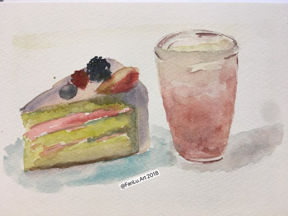 fruit cake and watermelon drink- fan lu-watercolor.jpeg