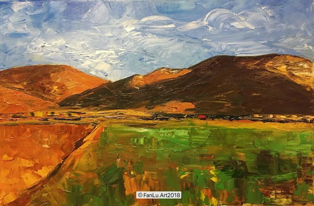 Artwork title: -Hills, Sausalito Artist: Fan Lu ( Oil on canvas, 24x36  inch)  For sale