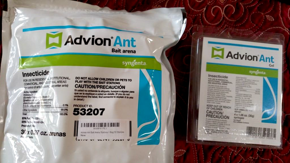 Figure 4. Photo of Advion bait station (30ct) and Ant gel packaging.
