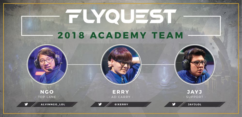 "FlyQuest Locks in Three Members of the University of Toronto to Academy Team - Wednesday, December 6th, 2017 New York, NY – FlyQuest Sports, an esports organization owned by Fortress Investment Group co-founder and Milwaukee Bucks co-owner Wes Edens,  has announced the first three members of their academy roster. Top Laner Alvin ""Ngo"" Ngo, ADC Sang ""Erry"" Park, and Support Juan ""Jayj"" Guibert, all..."