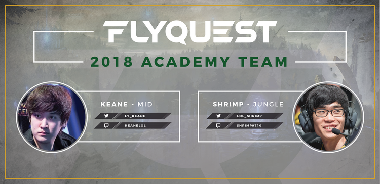 "Former Dignitas Midlaner & Jungler, Keane & Shrimp, Join FlyQuest's Academy Team - Thursday, December 7th, 2017 New York, NY – FlyQuest Sports, an esports organization owned by Fortress Investment Group co-founder and Milwaukee Bucks co-owner Wes Edens,  has announced that they have signed two former Team Dignitas starters. Midlaner Jang ""Keane"" Lae-young and jungler Lee ""Shrimp"" Byeong-hoon will join FlyQuest's Academy Roster. Keane and Shrimp round..."