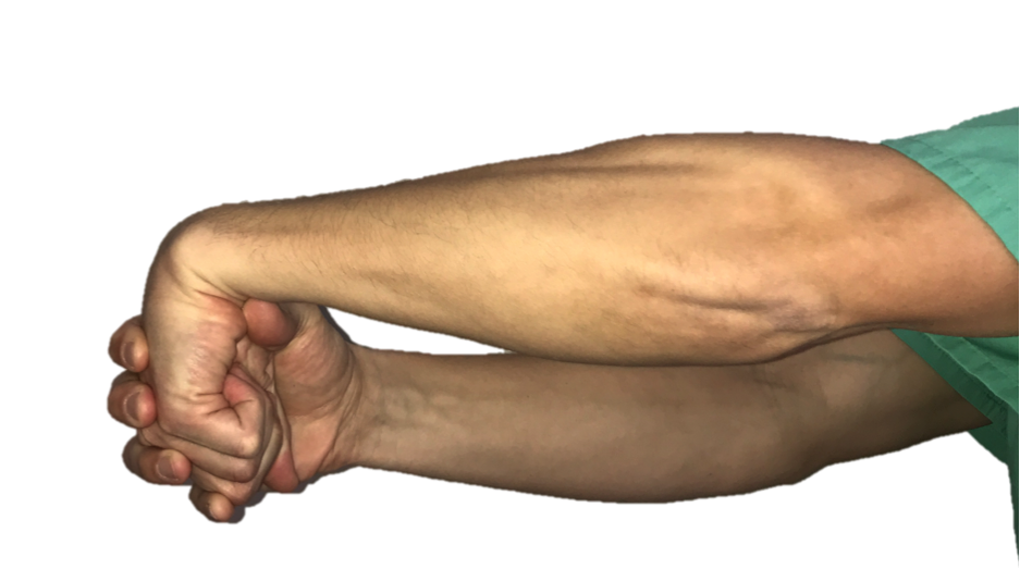 With your elbow straight and palm facing the floor, make a fist. Then, use your other hand to bend the wrist down. Hold the stretch for 30 seconds.