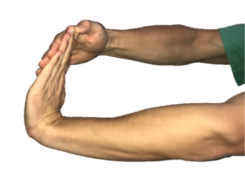 Wrist flexor stretches for tennis elbow.