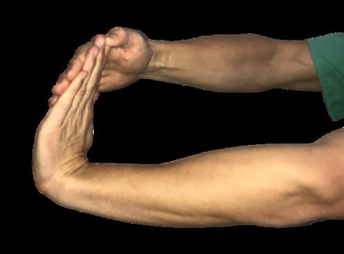 Wrist flexor stretches for tennis elbow.