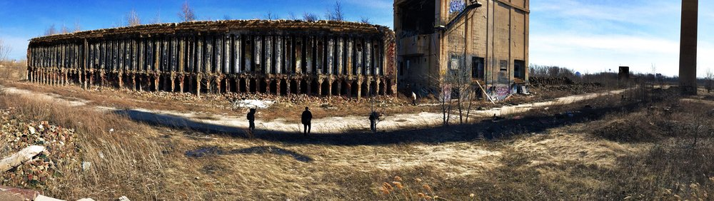 Panoramic view of the ovens and coal tower with Matthew, Nate, Aubrey, and Peggy. This gives an idea of the massive size of those ovens.