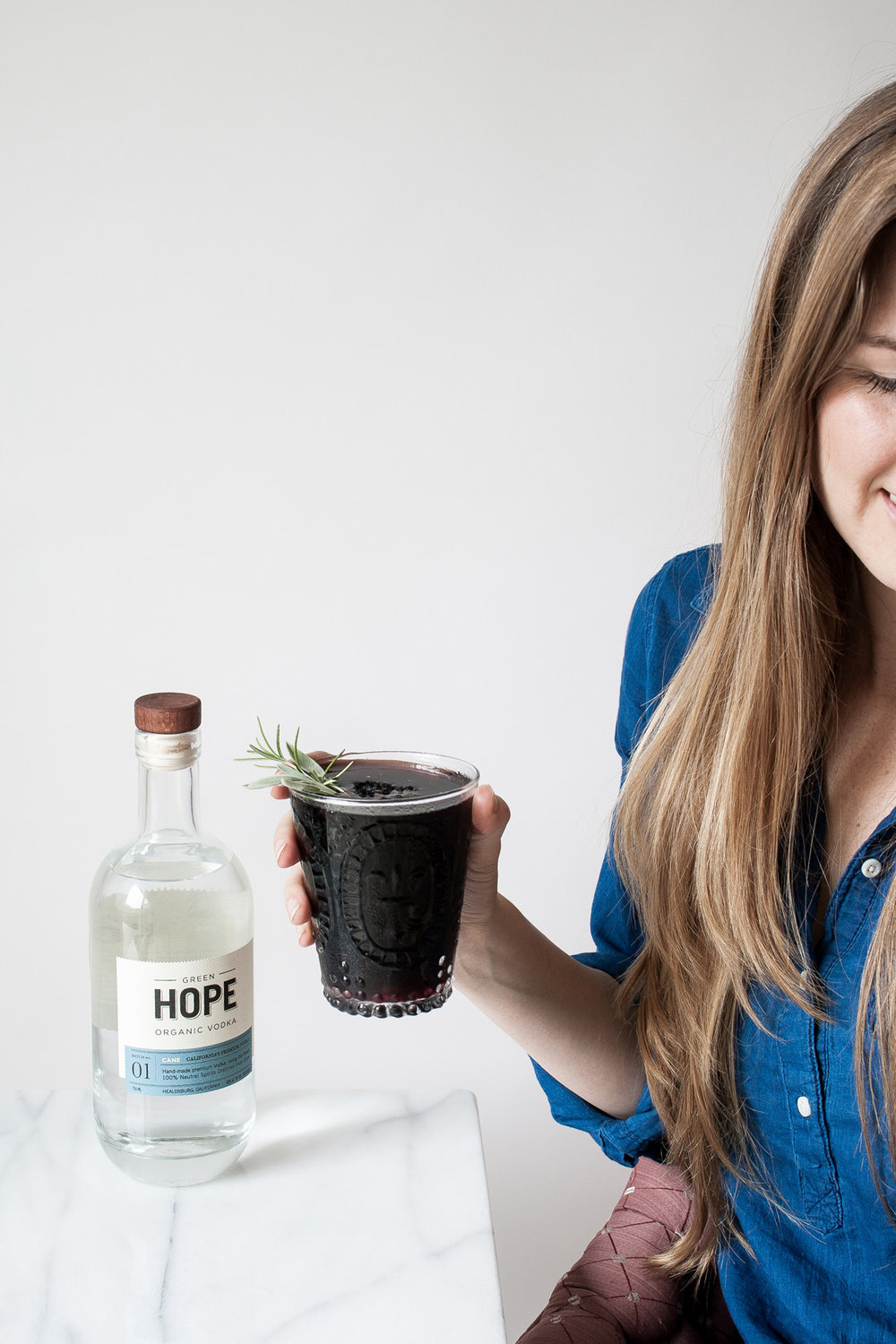 Green Hope Organic Cane Vodka is gluten-free non-GMO and perfect for a simple homemade cocktail with aloe vera and black elderberry syrup.
