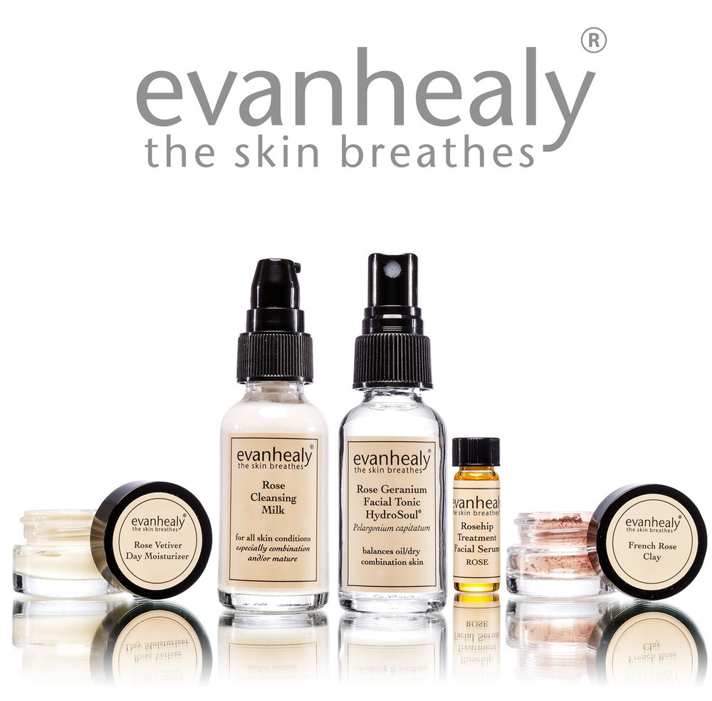 Evan Healy's Skincare line is clean, pure, certified organic, often wild-harvested, and local, supporting small farmers and women's cooperatives.