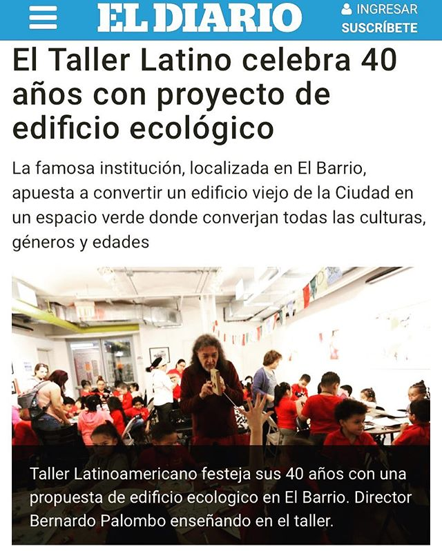 """Read about El Taller's 40th anniversary and it's plans to create an ecological and completely sustainable """"punto verde"""" at it's future new location on 110th street and Lexington Avenue in El Diario's recent cover story about El Taller;  https://eldiariony.com/2019/04/15/el-taller-latino-celebra-40-anos-con-proyecto-de-edificio-ecologico/?fbclid=IwAR1sg2uCauzuPREivUeOwZDrpi9pUQLzPCRHBBX1xLJFHqHzW-LbcKWZgF8  #40yearsofelltaller #40yearstaller #greennewdeal #puntoverde #comunidad #elbarrio"""