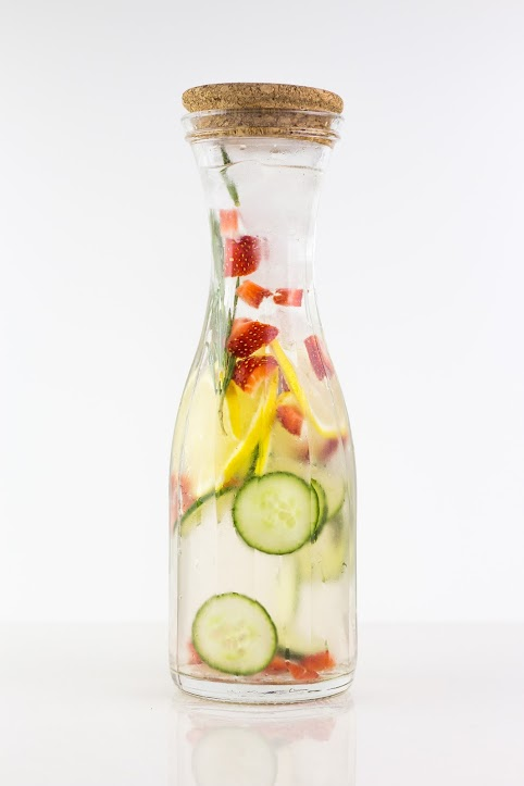 I infused this water with cucumbers, strawberries, lemon and rosemary.