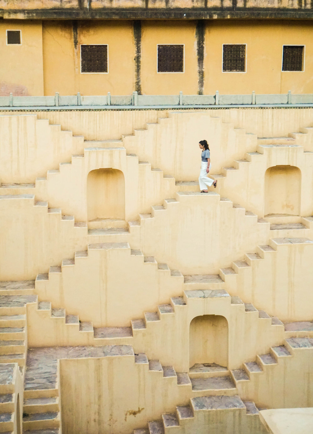 Walking down the Stepwell stairs