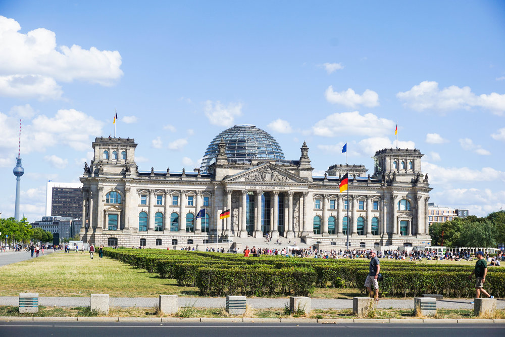 The glass dome of the Reichstag is easily recognizable
